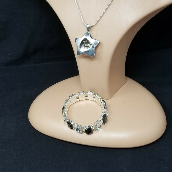 faux silver star necklace and black bracelet set